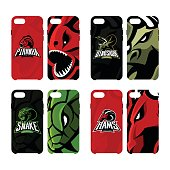 Furious piranha, ram, snake and dinosaur sport vector icon,  concept smart phone case.