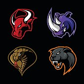 Furious rhino, bull, cobra and panther sport vector concept set isolated on black background.