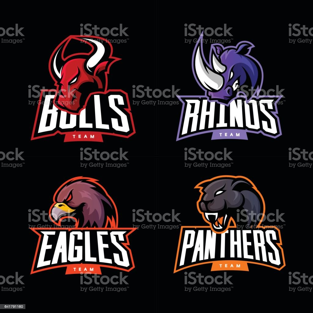 Furious rhino, bull, eagle and panther sport vector logo concept set isolated on dark background. royalty-free furious rhino bull eagle and panther sport vector logo concept set isolated on dark background stock illustration - download image now