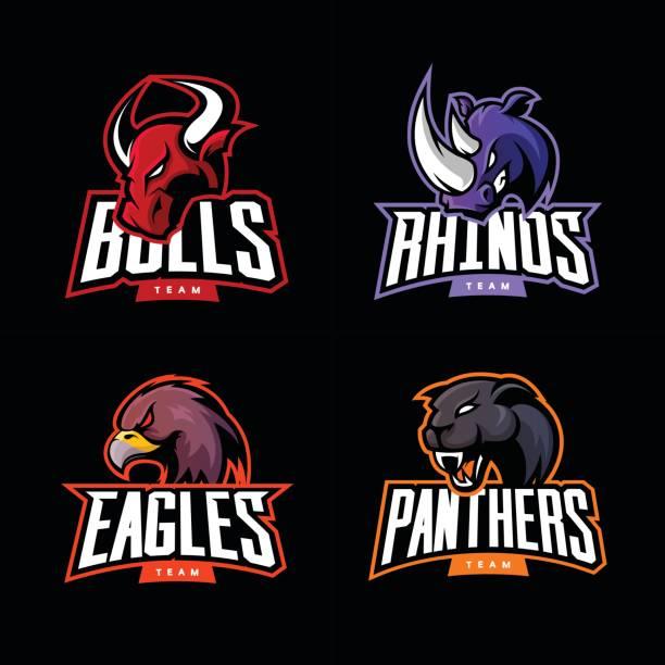 ilustrações, clipart, desenhos animados e ícones de rinoceronte furioso, touro, águia e pantera esporte conceito de logotipo de vetor conjunto isolado em fundo escuro. - equipe esportiva