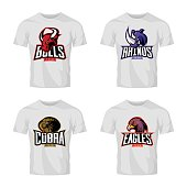 Furious rhino, bull, eagle and snake sport vector logo concept set isolated on white t-shirt mockup.