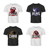 Furious rhino, bull, eagle and snake sport vector logo concept set isolated on black t-shirt mockup.
