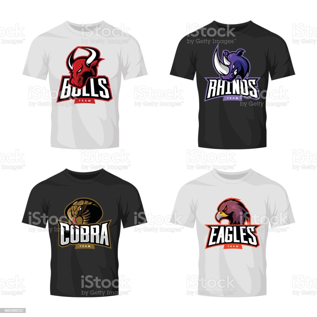 Furious rhino, bull, eagle and snake sport vector logo concept set isolated on black t-shirt mockup. vector art illustration