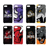 Furious rhino, wolf, bull and panther sport vector icon,  concept smart phone case.