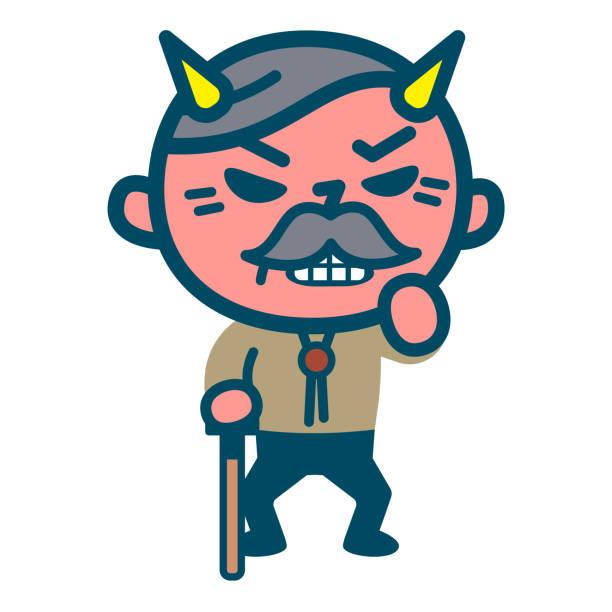 furious senior male - old man mask stock illustrations