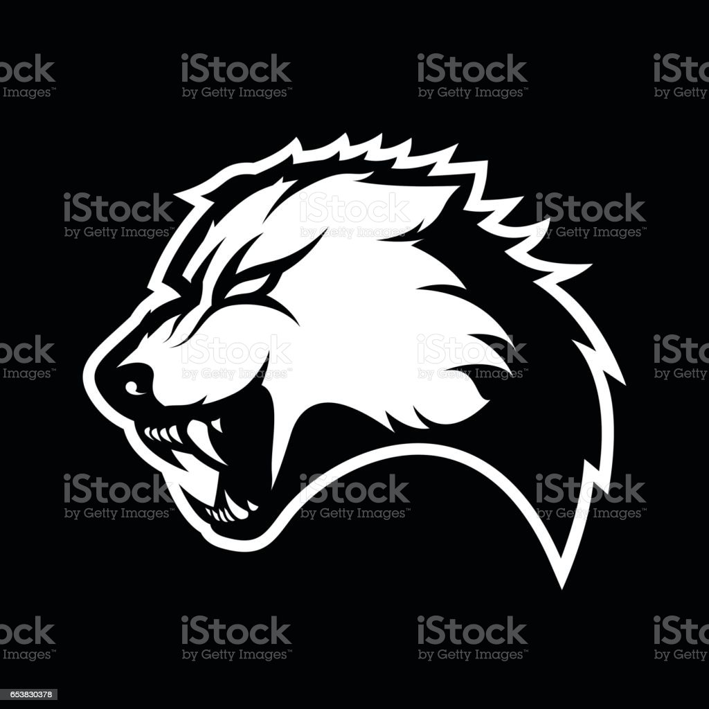 Furious wolf mono sport vector concept isolated on dark background vector art illustration