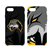 Furious wolf sport vector concept smart phone case isolated on white background.
