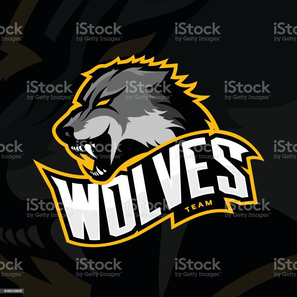 Furious wolf sport vector logo concept isolated on dark background. vector art illustration