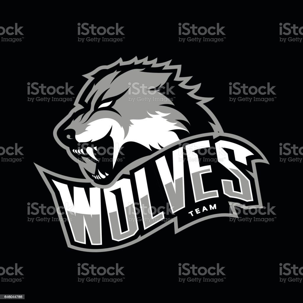 Furious wolf sport vector logo concept isolated on dark background vector art illustration