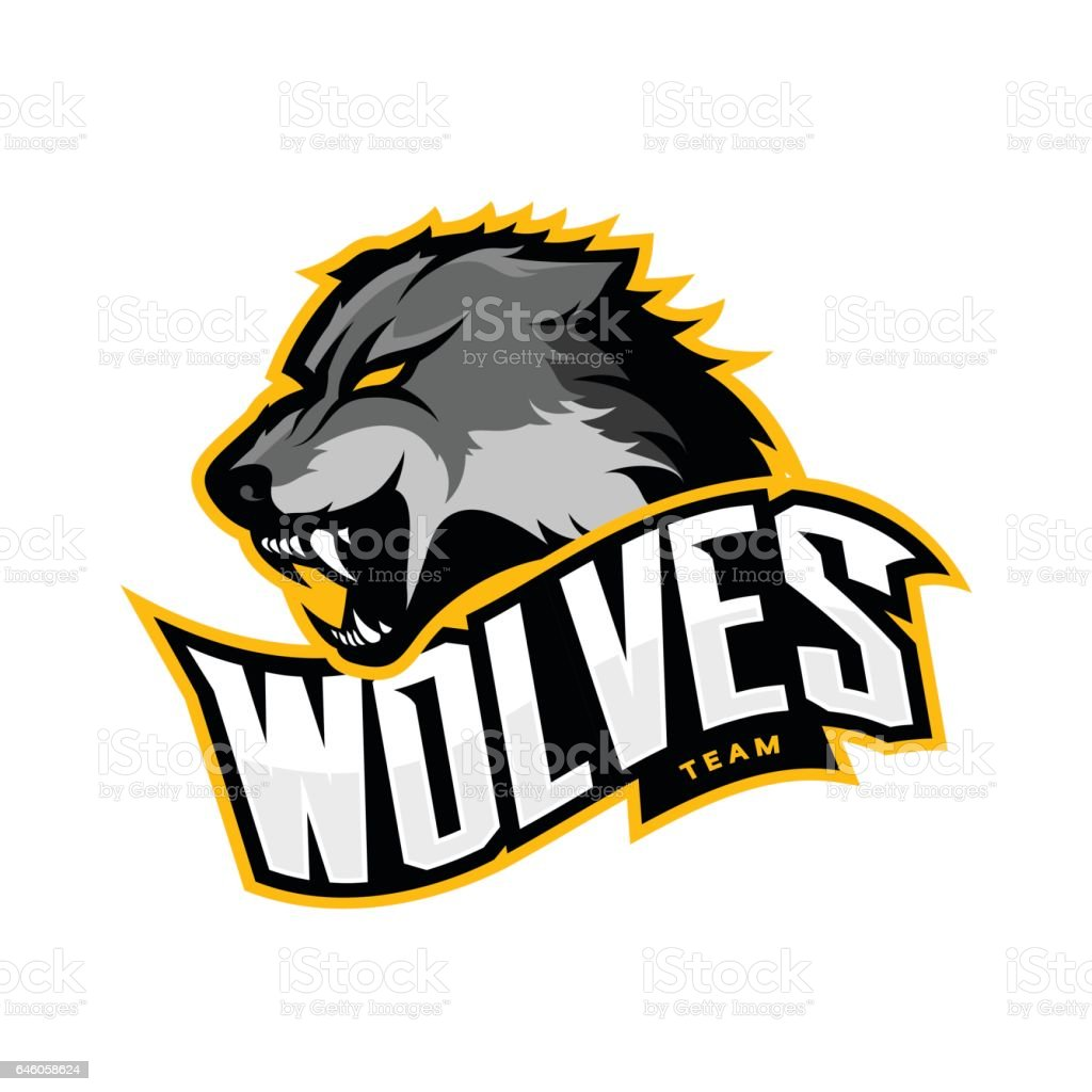 Furious wolf sport vector logo concept isolated on white background vector art illustration