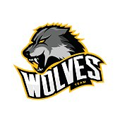 Furious wolf sport vector logo concept isolated on white background