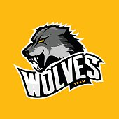 Furious wolf sport vector logo concept isolated on yellow background. Professional predator team badge design.