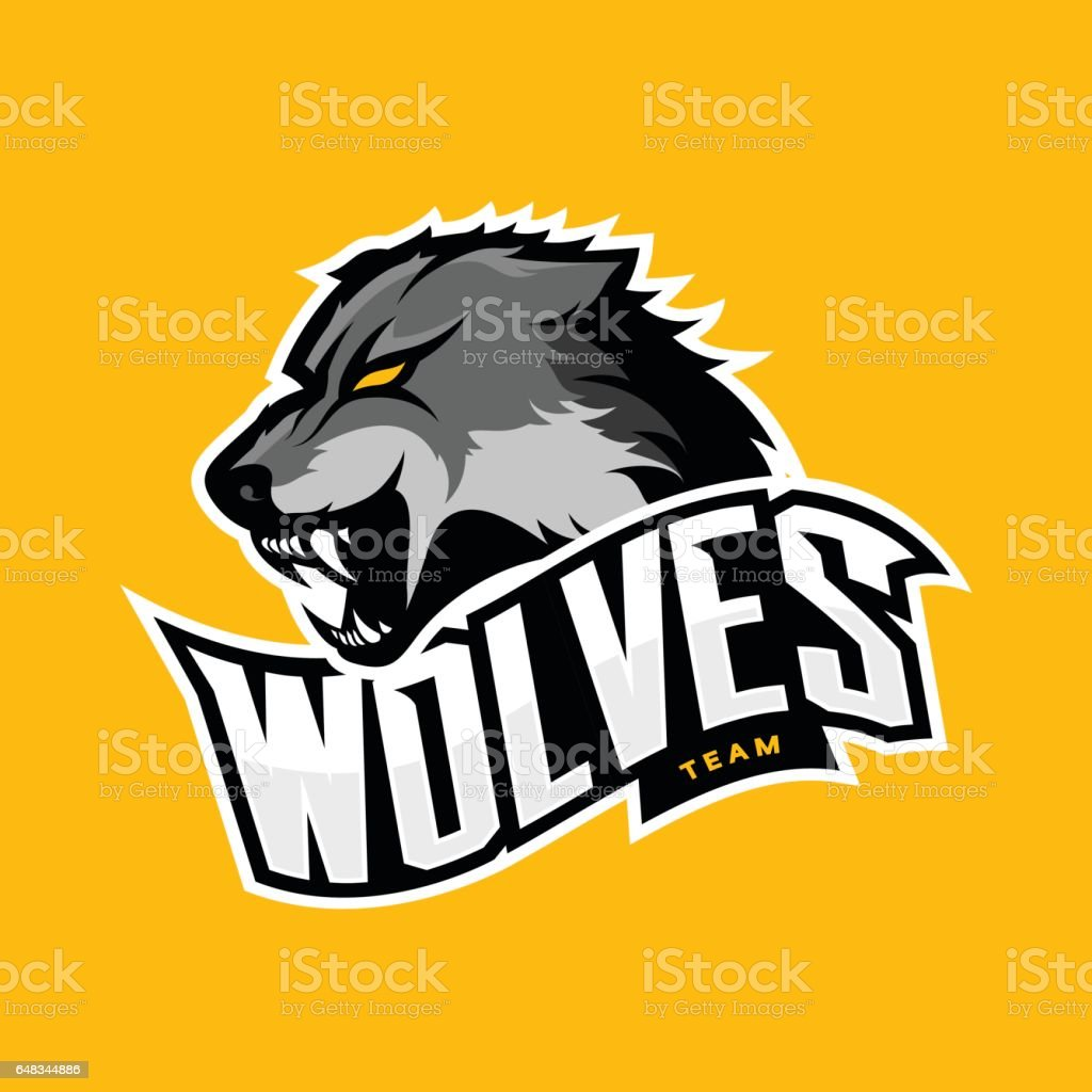 Furious wolf sport vector logo concept isolated on yellow background vector art illustration