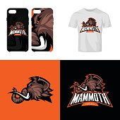 Furious woolly mammoth head sport club isolated vector icon concept.