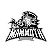 Furious woolly mammoth head sport vector concept isolated on white background. Modern professional mascot team badge design.