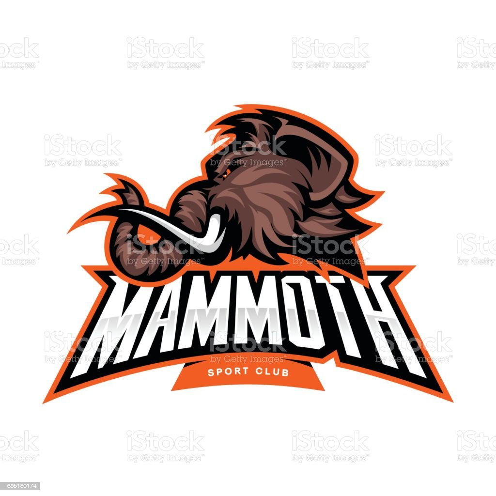 Furious woolly mammoth head sport vector concept isolated on white background. vector art illustration