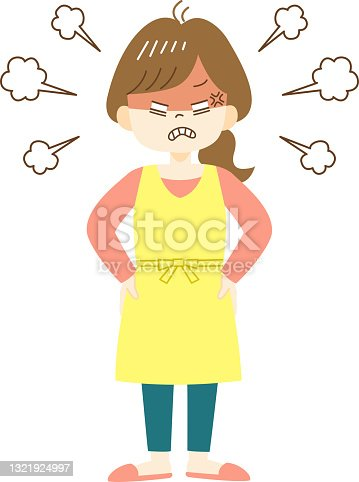 istock Furious young woman in yellow apron 1321924997