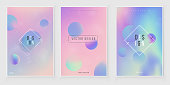 Furistic modern holographic cover set. 90s, 80s retro style.  Hipster style graphic geometric holographic elements. Iridescent graphic mockup for brochure, banner, wallpaper, mobile screen.