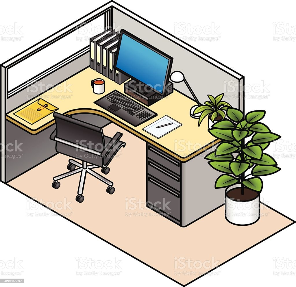 desk office comfortable computer furnished office cubicle royaltyfree stock