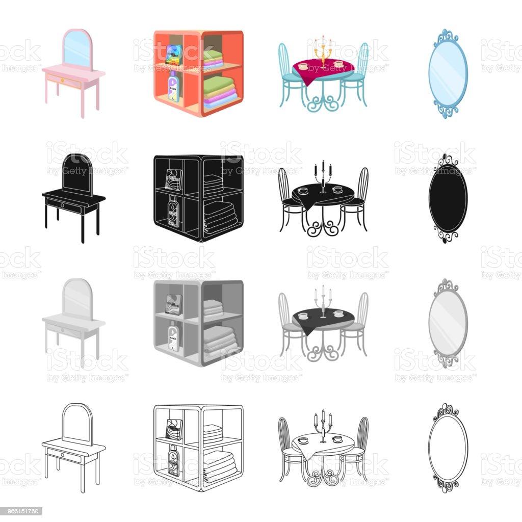Möbler, bekvämligheter, stil och andra web-ikonen i tecknad stil. Kontor, företag, ikoner i set samling. - Royaltyfri Bord vektorgrafik