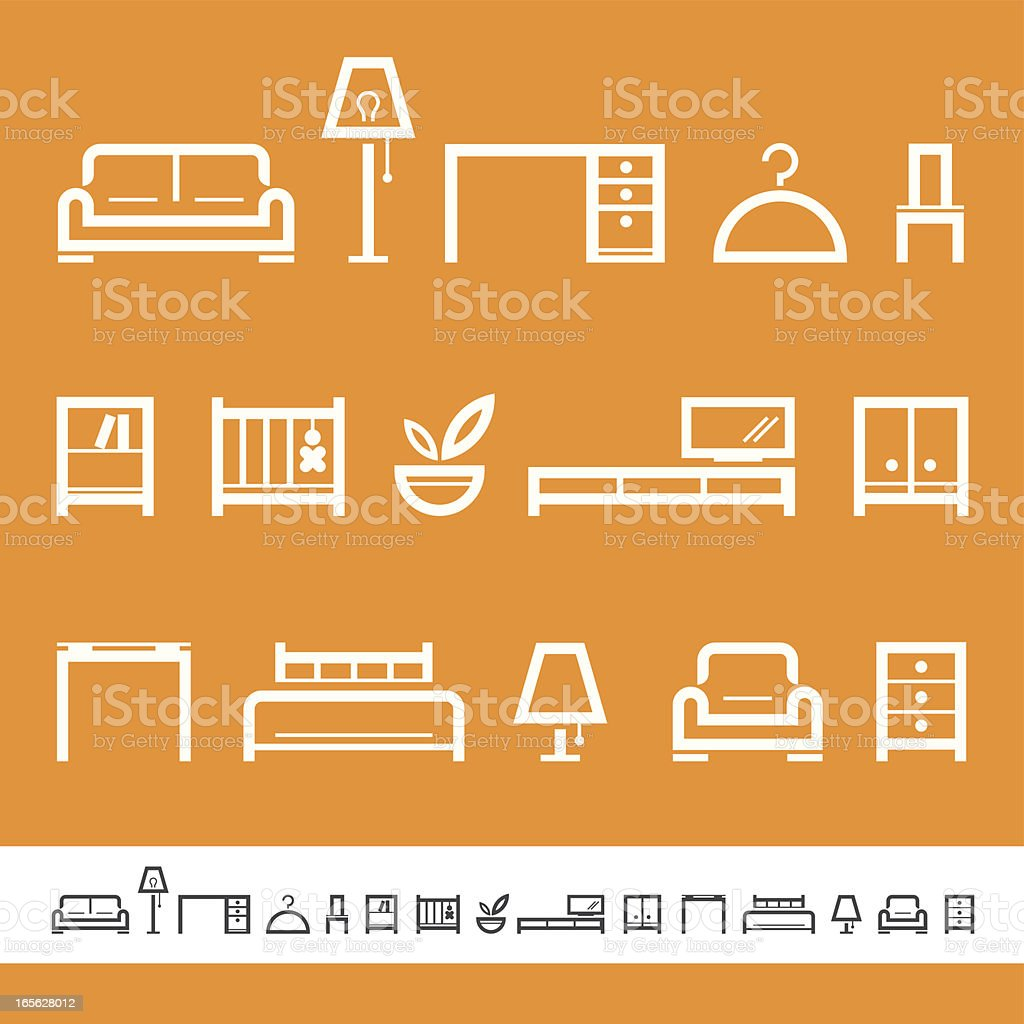 Furniture & Interior pictograms royalty-free furniture amp interior pictograms stock vector art & more images of bed