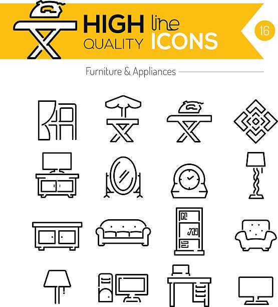 möbel, haushaltsgeräte-icons - spiegelfliesen stock-grafiken, -clipart, -cartoons und -symbole