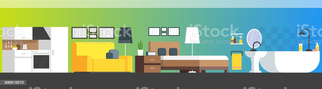 Furniture and home accessories banner with vector flat sofa, bookshelf, bed, bathroom, kitchen
