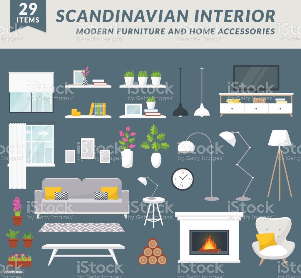 Meubelen en woning accessoires voor woonkamer. - Royalty-free Appartement vectorkunst
