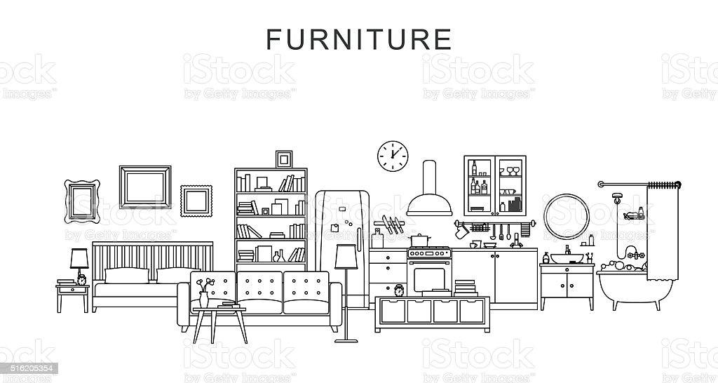 Le mobilier et la décoration. - Illustration vectorielle