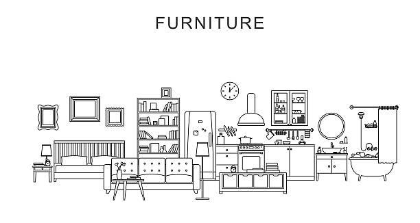 illustrations, cliparts, dessins animés et icônes de le mobilier et la décoration. - nouveau foyer