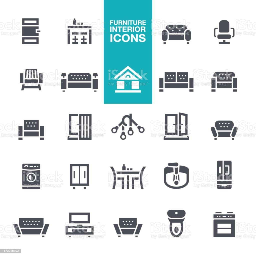 Furniture and Interior Features  icons vector art illustration
