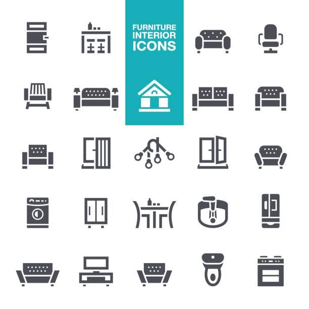 ilustrações de stock, clip art, desenhos animados e ícones de furniture and interior features  icons - sideboard