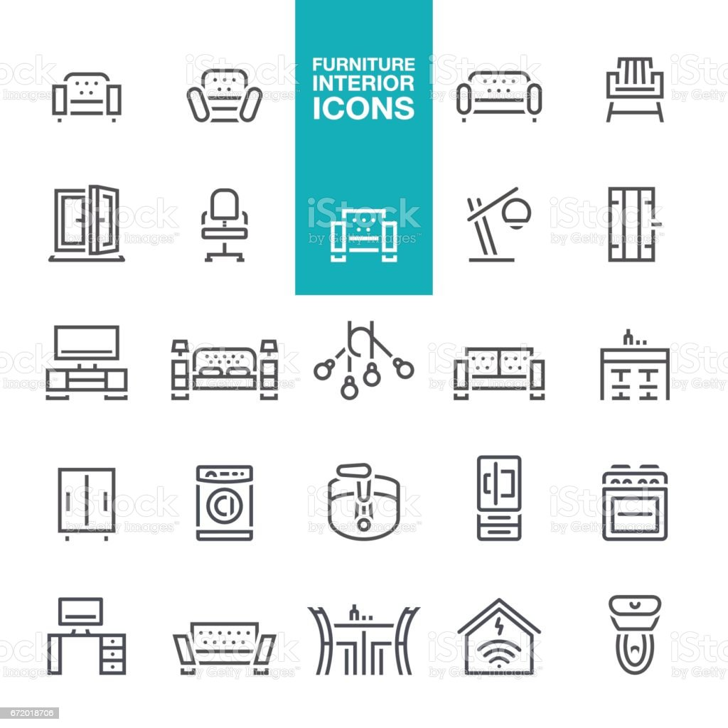 Furniture and Interior Features line  icons