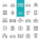 Furniture and Home equipment line icons set