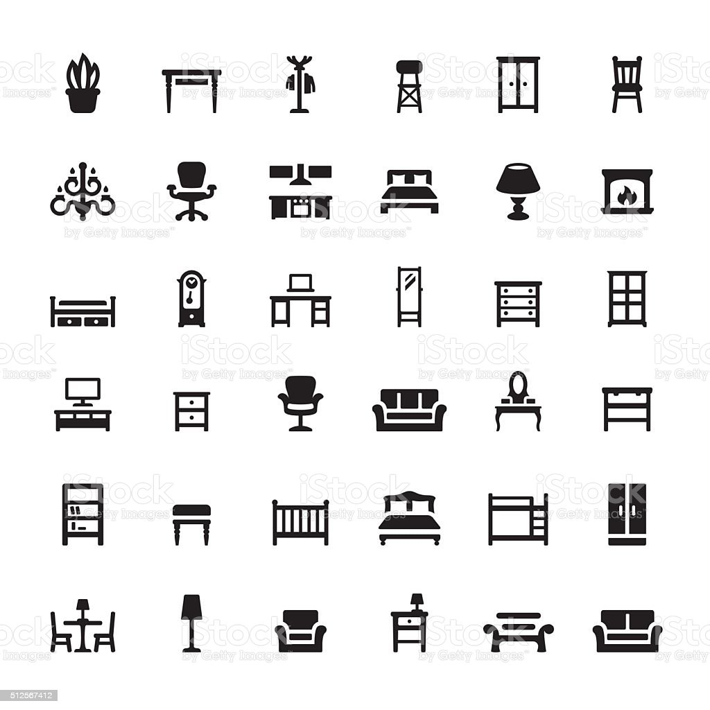 Furniture and Interior Features vector icons vector art illustration