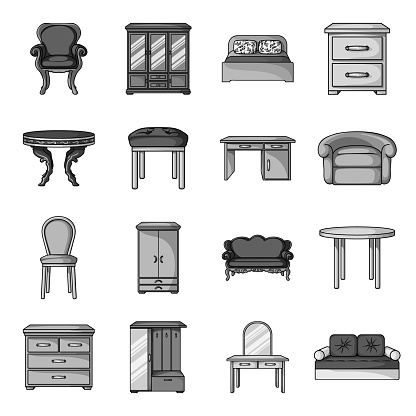 Furniture and interior monochrome icons in set collection for design.Home furniture vector symbol stock web illustration.