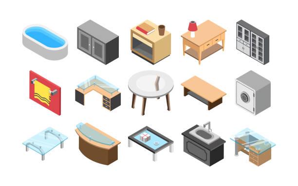 ilustrações de stock, clip art, desenhos animados e ícones de furniture and interiors flat icons - coffee table