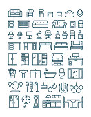 Furniture and sanitary line thin vector icons. Furniture interior set icon and furniture for home room kitchen and bathroom illustration