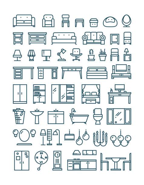Mobilier et sanitaires icônes vectorielles lignes fines - Illustration vectorielle