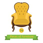 furniture, antique chair baroque, flat design