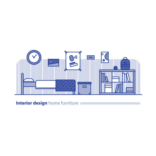 anordnung der möbel im wohnzimmer, einfachheit konzept, komfortables haus, moderne innenarchitektur - stapelbett stock-grafiken, -clipart, -cartoons und -symbole