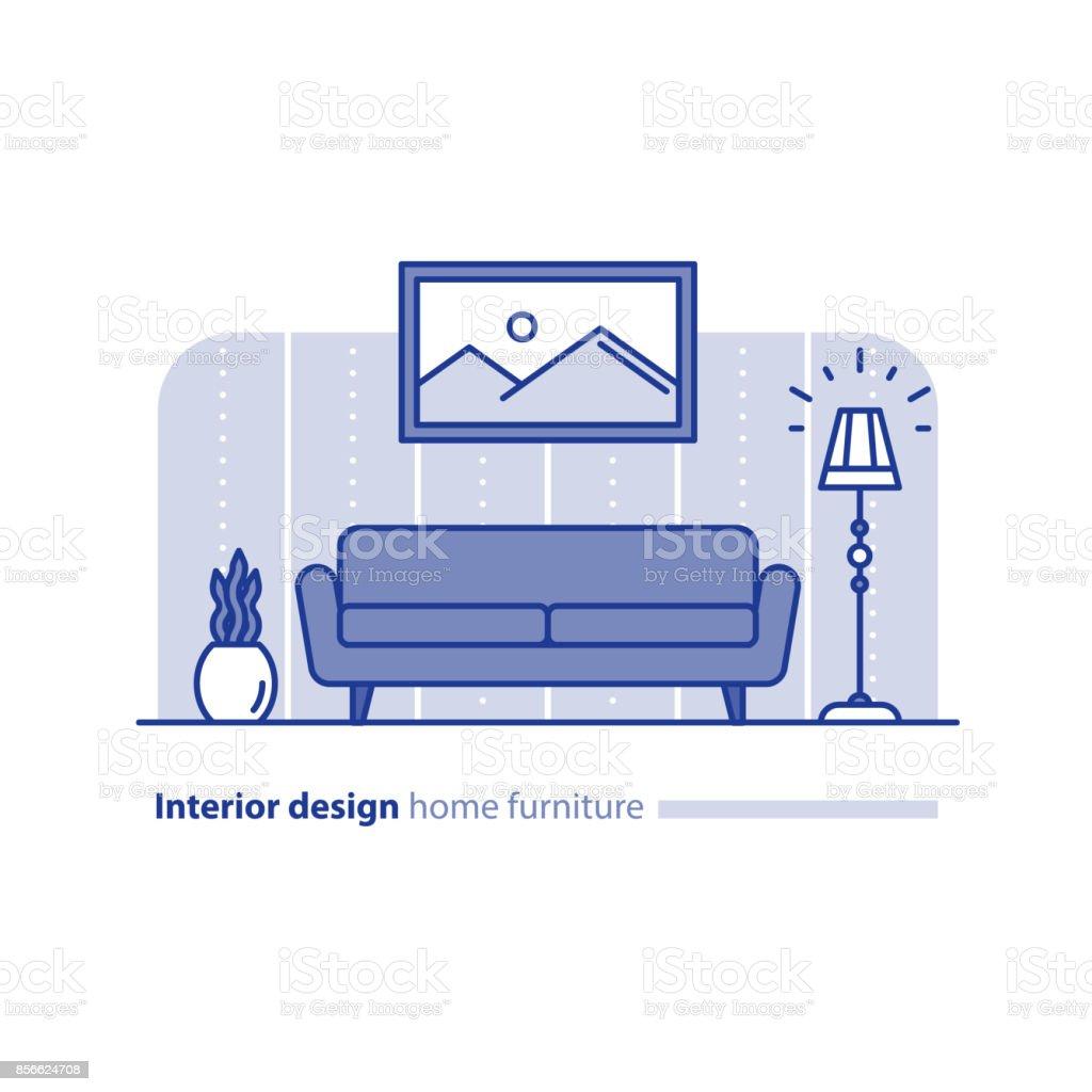 Anordnung Der Möbel Im Wohnzimmer Einfachheit Konzept Komfortables ...