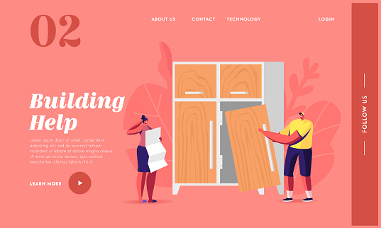 Furniture Assembly and Woodwork Landing Page Template. Tiny Characters Learning Instruction for Assembling Wardrobe