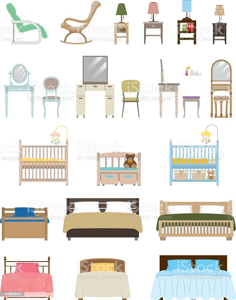 Furniture / Bedroom vector art illustration
