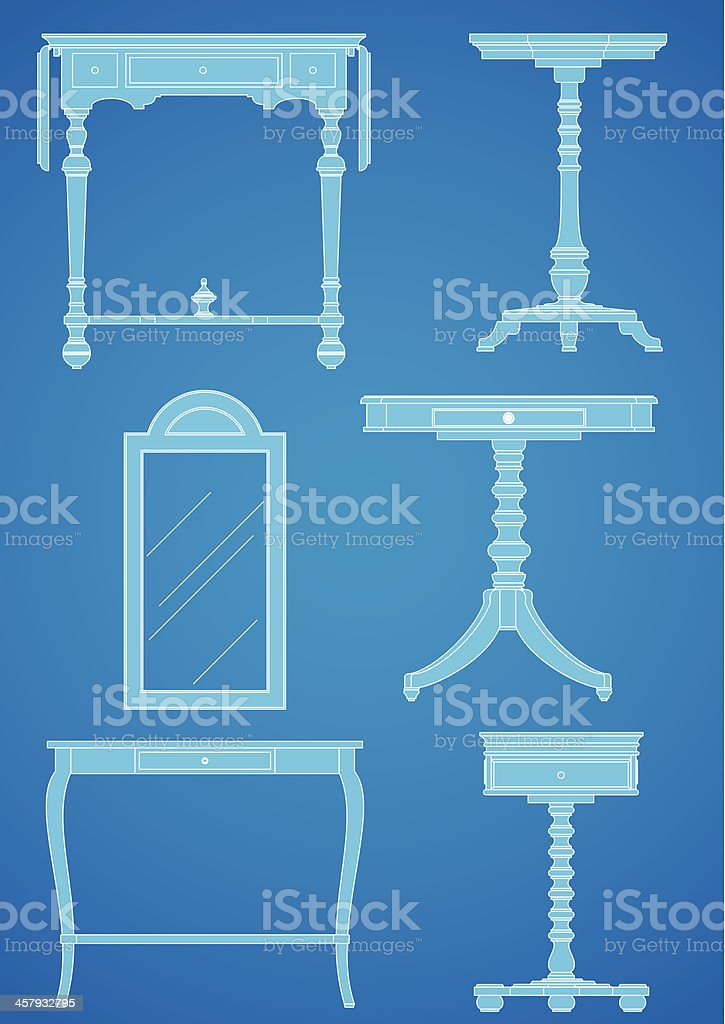 Furniture Blueprint Set 2 vector art illustration