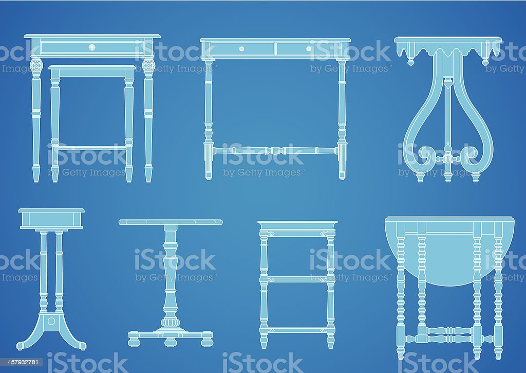 Furniture Blueprint Set vector art illustration
