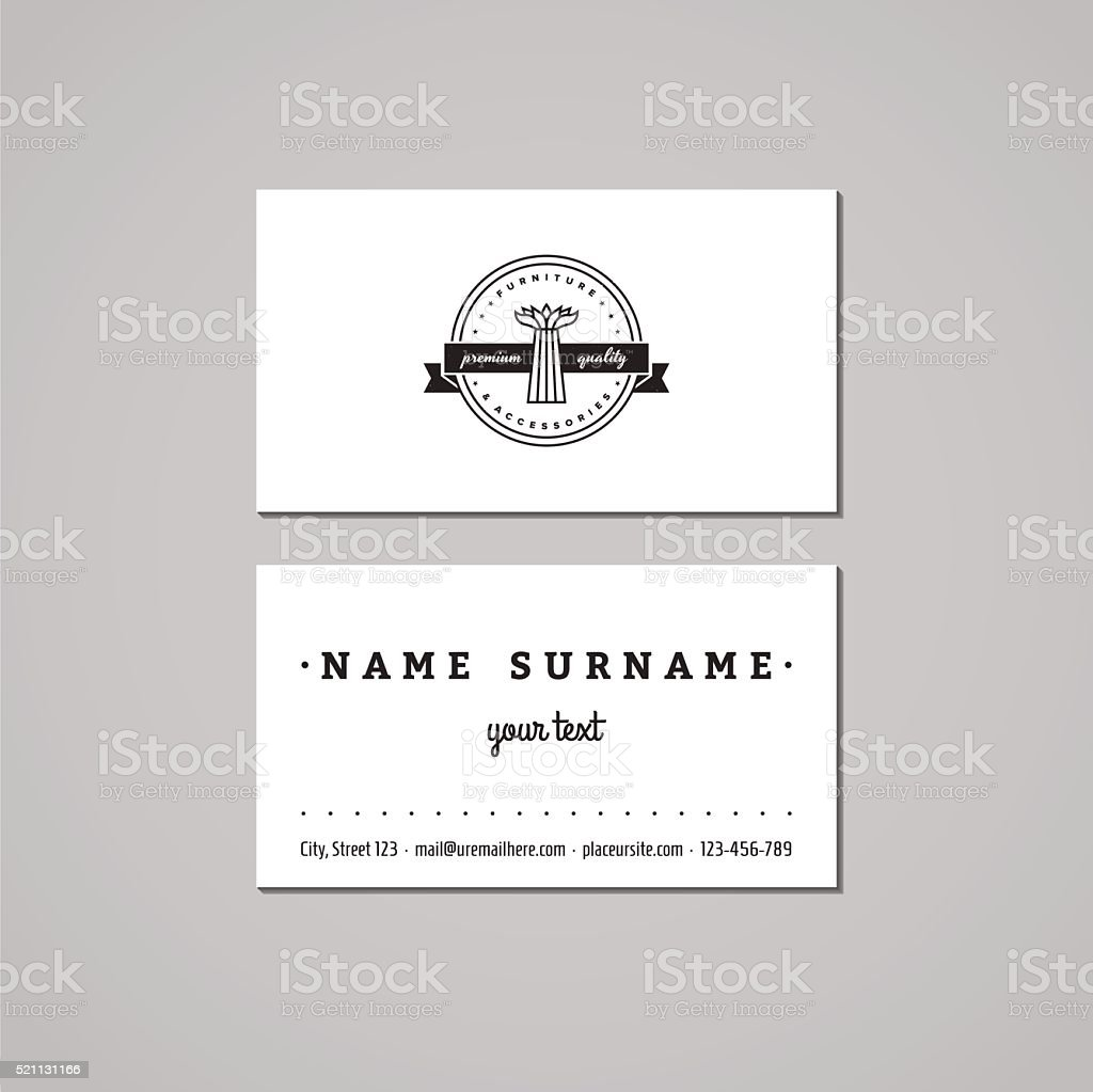 Furniture Business Card Design Concept Logo With Floor Vase Stock