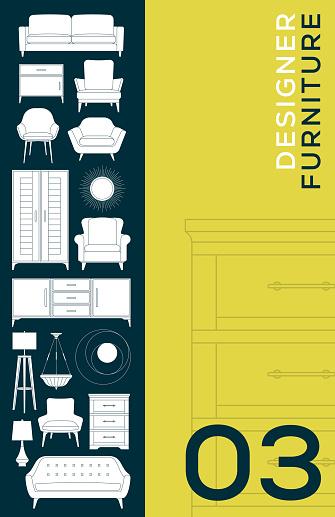 Furniture Catalog Home Decor Interior Design Icons Brochure Cover Flyer