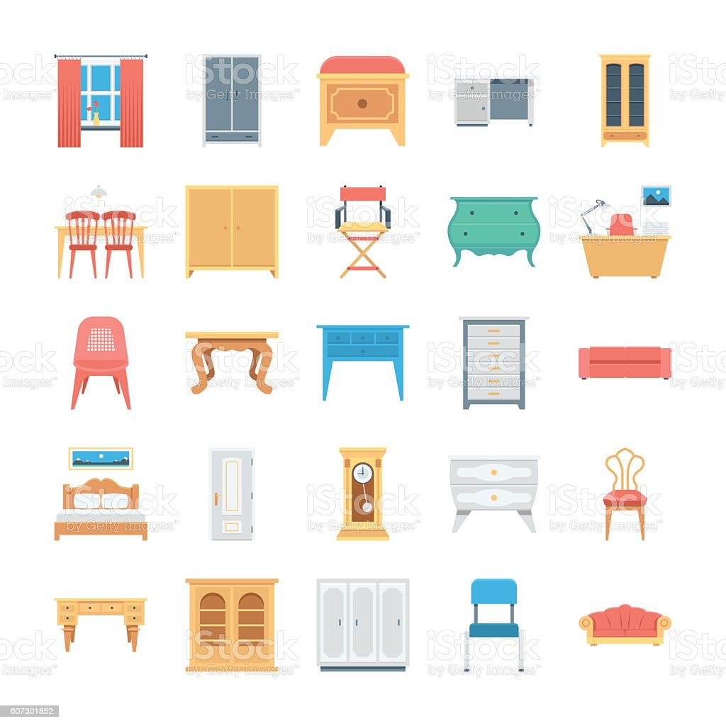 Furniture Colored Vector Icons 8