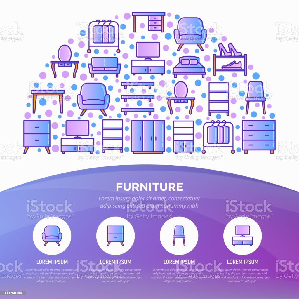Furniture Concept In Half Circle With Thin Line Icons